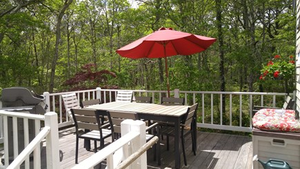 Hyannis Cape Cod vacation rental - Nice deck with table, chairs, gas grill and handicap ramp.