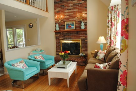 Falmouth, Maravista Cape Cod vacation rental - Family Room with a peek at the loft.