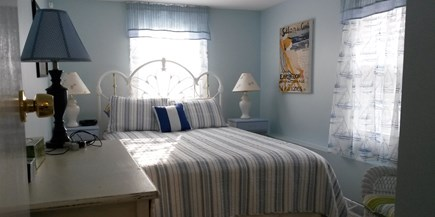 Onset MA vacation rental - Back Bedroom White Iron Queen Bed, Dresser, Nightstands