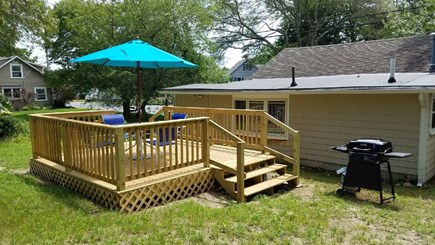 Onset MA vacation rental - Large Yard with Table & Chairs, Umbrella, Grill and now New Deck!
