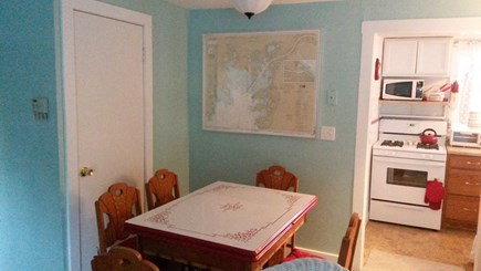 Onset MA vacation rental - Dining area with Vintage Red/White Table and Chairs