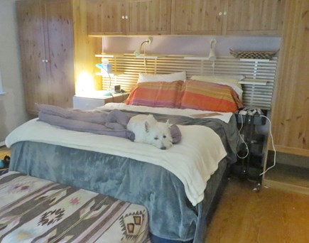 S Yarmouth Cape Cod vacation rental - Bedroom with Queen bed and view of the water and garden