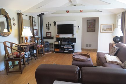 S Yarmouth Cape Cod vacation rental - Living room with gas fireplace