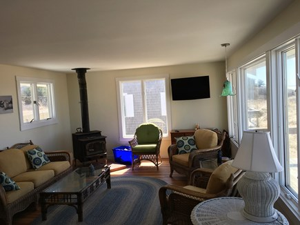 Wellfleet Cape Cod vacation rental - TV and wood stove in Living Room