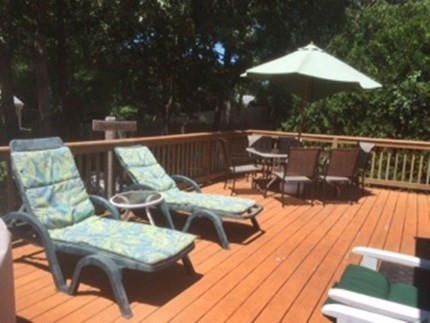 Dennisport Cape Cod vacation rental - Enjoy quiet mornings on the back deck