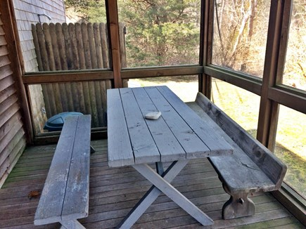 Eastham Cape Cod vacation rental - Screen porch with picnic table, outdoor shower