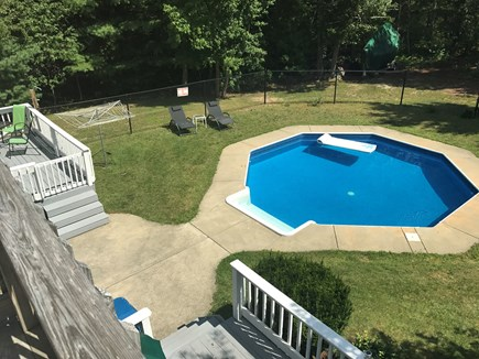 Mashpee Cape Cod vacation rental - Pool from second floor master showing both lower decks