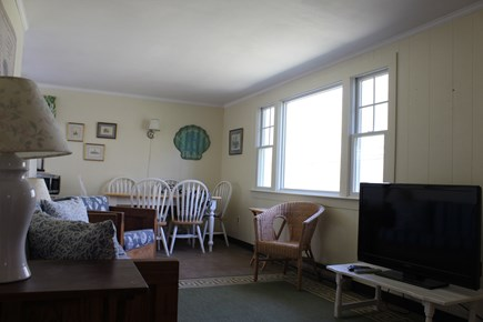 Eastham Cape Cod vacation rental - TV is hung up on wall instead of sitting on table