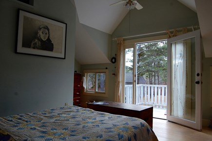 Wellfleet Cape Cod vacation rental - Master bedroom on second floor; queen bed, en suite with deck