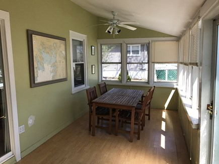 Wareham MA vacation rental - other side of front porch with table and 4 chairs