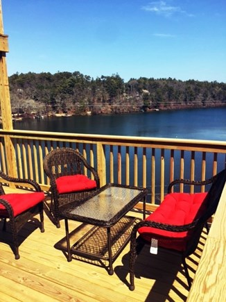 Plymouth MA vacation rental - Seating Area on Main Level Deck Overlooking the Water