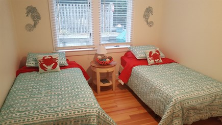 Dennisport Cape Cod vacation rental - Summer ready twin beds. Closet and dresser not shown.