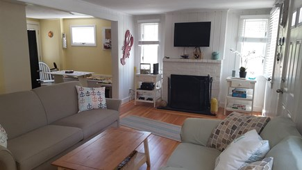 Dennisport Cape Cod vacation rental - Open floor plan living space from kitchen to living room.