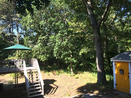 Brewster Cape Cod vacation rental - Backyard, deck & shed