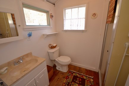Wellfleet Cape Cod vacation rental - Downstairs full bath off cottage kitchen with stand up shower