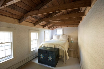 North Truro Cape Cod vacation rental - 2nd floor double bed bedroom with cool exposed beams
