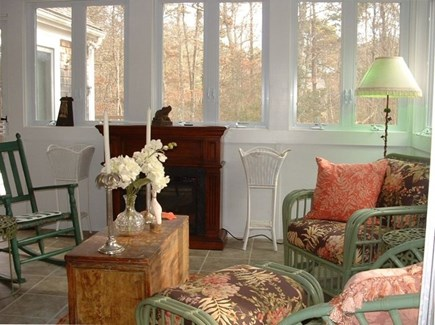 Barnstable Village Cape Cod vacation rental - Three season room with electric fireplace