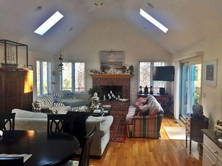 Barnstable Village Cape Cod vacation rental - Family room with skylights and TV off of kitchen.