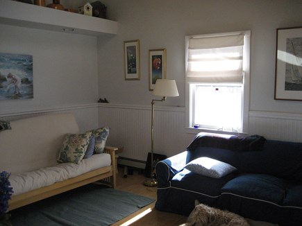 Bourne, Plymouth Cape Cod vacation rental - Living room with full size futon.Cable tv, Internet.
