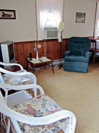 West Chatham Cape Cod vacation rental - Living room with AC & TV, (new flat screen TV, not shown)