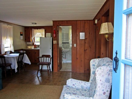 West Chatham Cape Cod vacation rental - View towards the kitchen and bathroom from living room