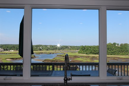 Truro Cape Cod vacation rental - Great Harbor Views from Kitchen,which opens to main deck