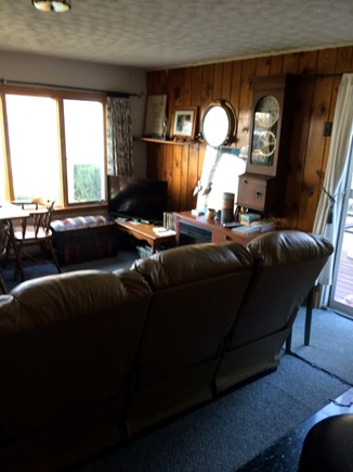 Bourne Cape Cod vacation rental - Front view of the CCC w/ flat screen TV & leather couches