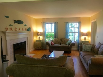 Eastham Cape Cod vacation rental - Beautiful living room with a gas fireplace