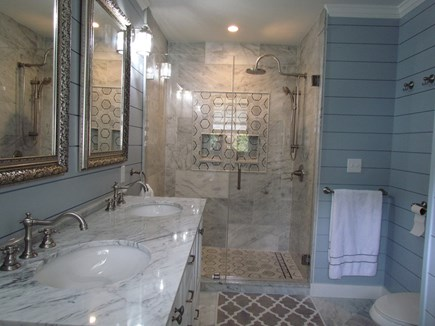 Eastham Cape Cod vacation rental - Marble Master Bathroom with double sinks and a rain shower