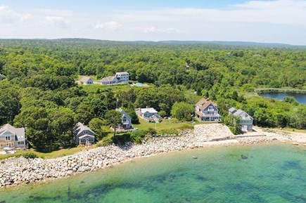 Plymouth, Ellisville MA vacation rental - Our home is the 3rd one from the right w/lawn & beach in front