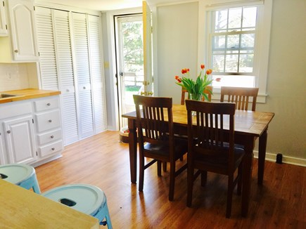 South Yarmouth Cape Cod vacation rental - Dining area of the kitchen with access to the front yard