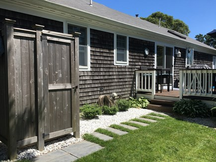 South Chatham Cape Cod vacation rental - Back of house with deck and outdoor shower