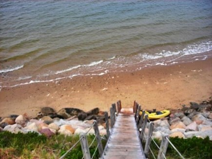 Wellfleet, Lieutenant Island Cape Cod vacation rental - Stairs to Beach at High Tide