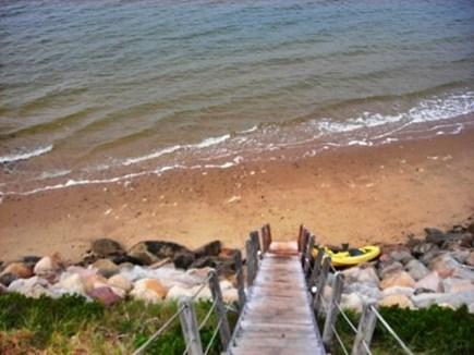 Wellfleet, Lieutenant Island Cape Cod vacation rental - Stairs to Beach at High Tide