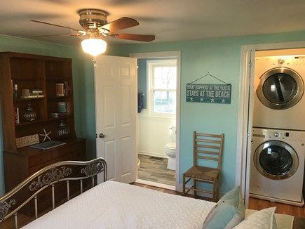 South Yarmouth Cape Cod vacation rental - Master Bedroom -- hardwood floors; stackable washer & dryer