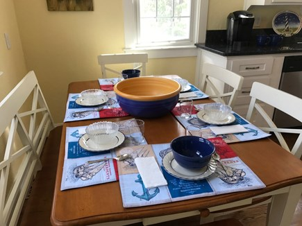 South Yarmouth Cape Cod vacation rental - Eat in kitchen with charming farm table -- comfortably seats 6