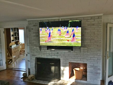 West Harwich Cape Cod vacation rental - Living Room oversized fireplace w/ flat screen TV