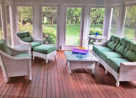 East Dennis Cape Cod vacation rental - Mahogany sun porch overlooking spacious, private back yard