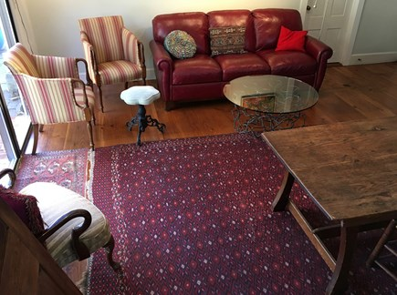 wellfleet Cape Cod vacation rental - 1st Floor - 7' Leather Couch, Comfortable Character Chairs