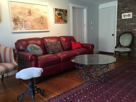 wellfleet Cape Cod vacation rental - 1st Floor - Couch, Glass Top Scribble Table, Original Artwork