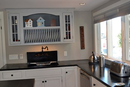 wellfleet Cape Cod vacation rental - Kitchen—French Cabinet, Soap Stone Sink and Counters