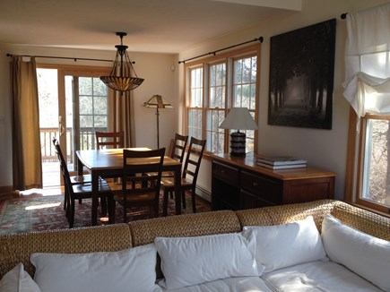 West Dennis Cape Cod vacation rental - Living and dining area (ceiling fan, sliding door, A/C)