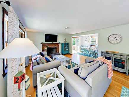 85 Cynthia Lane, Dennis Port Cape Cod vacation rental - Sunny & cozy living room with new sofa-bed & 55 inch HD LED TV