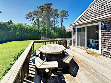 85 Cynthia Lane, Dennis Port Cape Cod vacation rental - Fire up grill and enjoy meals al fresco at the 8-seat patio table