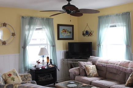 Truro Cape Cod vacation rental - Livingroom with full couch, chairs, flat screen TV