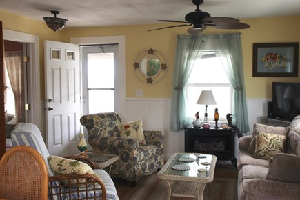 Truro Cape Cod vacation rental - Living room is adjacent to the kitchen