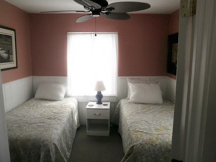 Truro Cape Cod vacation rental - Bedroom with two twin beds, ceiling fan
