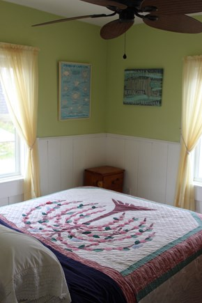 Truro Cape Cod vacation rental - Bedroom with queen bed, ceiling fan, closet