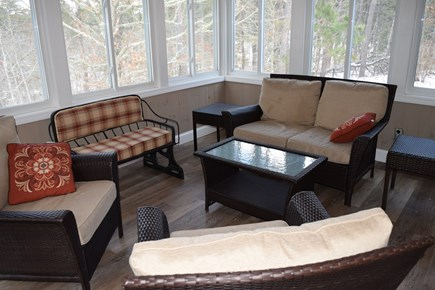 Wellfleet Cape Cod vacation rental - Sun Porch off Kitchen over looking conservation land with TV