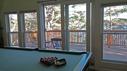 Harwich Cape Cod vacation rental - Pool table in the living room with sliders to beautiful deck